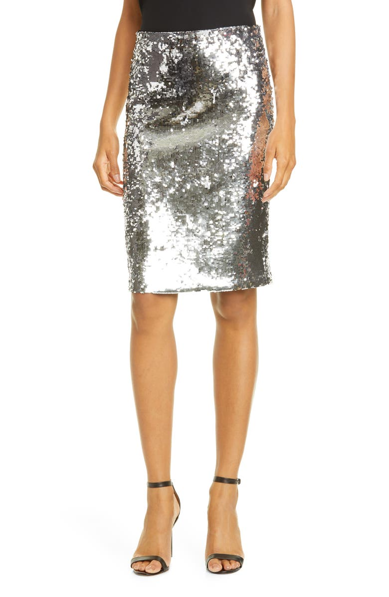 ALICE + OLIVIA Ramos Sequin Pencil Skirt, Main, color, 040