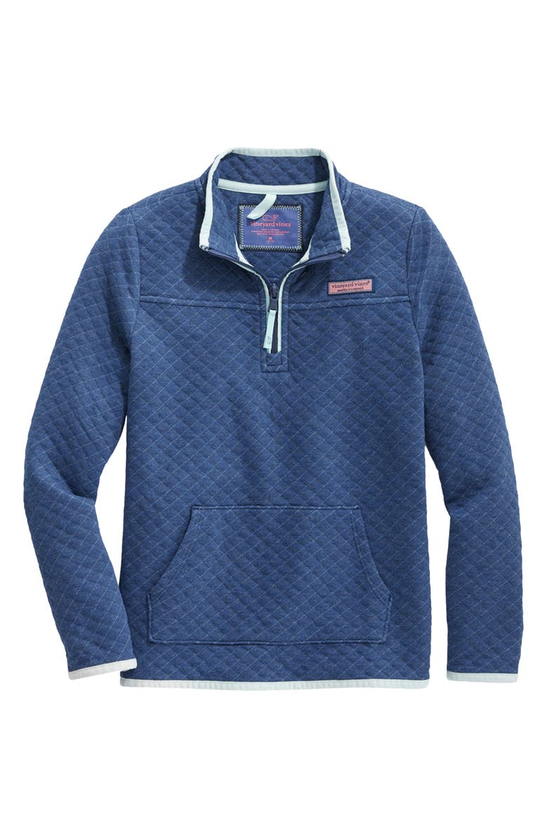 VINEYARD VINES Kids' Quilted Shep Pullover, Main, color, DEEP BAY HEATHER