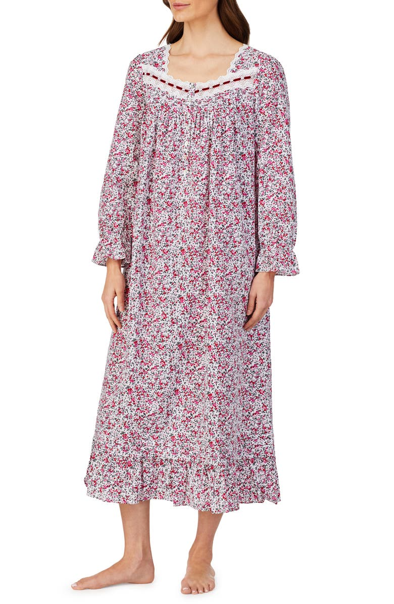 EILEEN WEST Cotton Lawn Long Sleeve Ballet Nightgown, Main, color, WHITE FLORAL