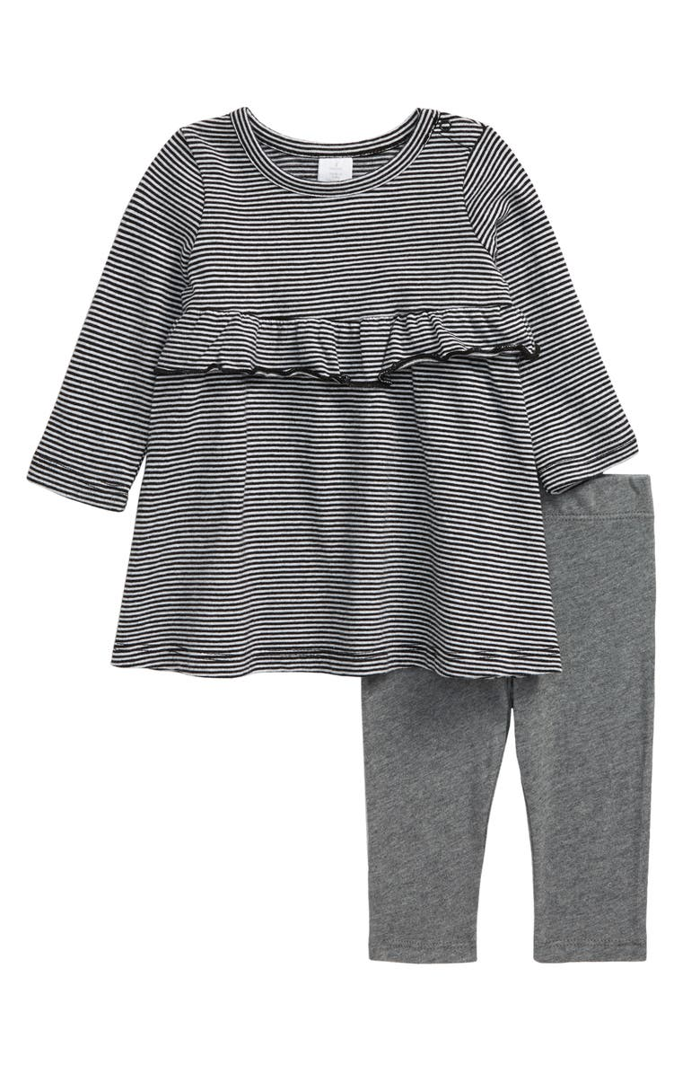 NORDSTROM Long Sleeve Stripe Dress & Pants Set, Main, color, 001