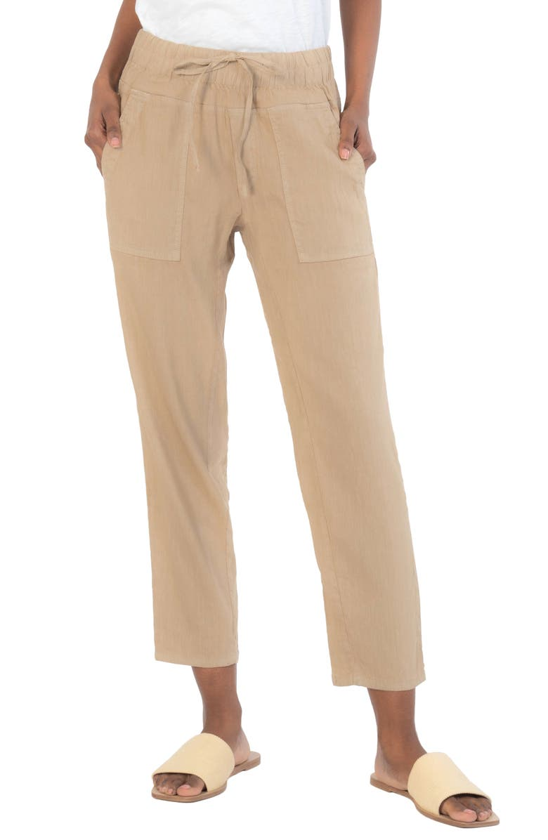 KUT FROM THE KLOTH Drawcord Waist Crop Pants, Main, color, FLAX