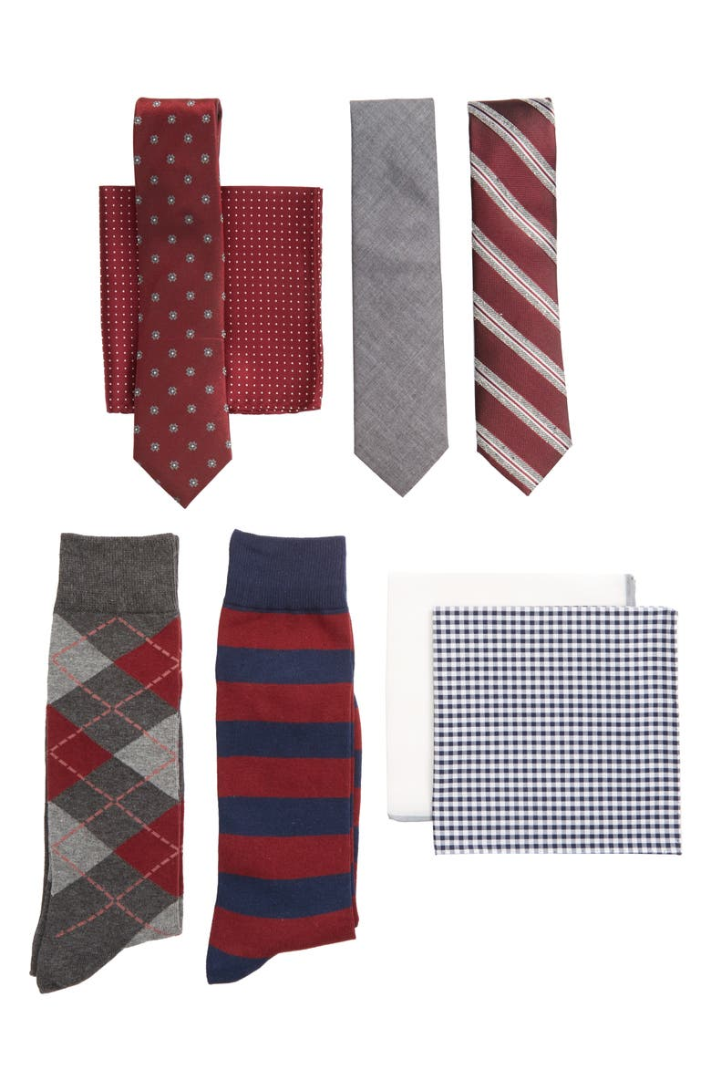 THE TIE BAR Large Burgundy Style Box, Main, color, 603