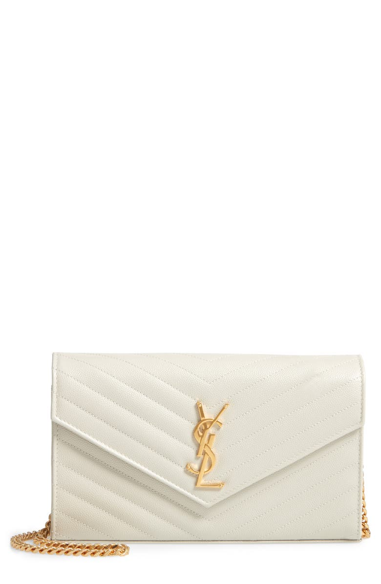 SAINT LAURENT Large Monogramme Quilted Leather Wallet on a Chain, Main, color, CREMASOFT