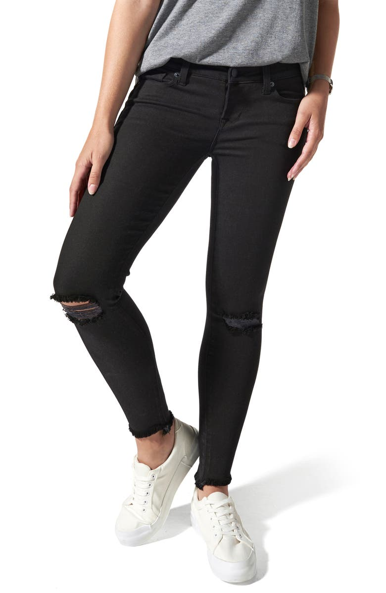BLANQI Ripped Postpartum/Nursing Skinny Jeans, Main, color, BLACK WASH