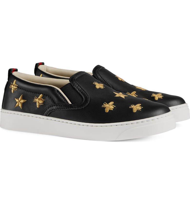 GUCCI Dublin Bees and Stars Slip-On Sneaker, Main, color, 005