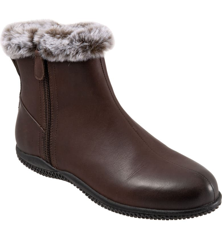 SOFTWALK<SUP>®</SUP> Helena Leather Bootie with Faux-Fur Trim, Main, color, DARK BROWN LEATHER