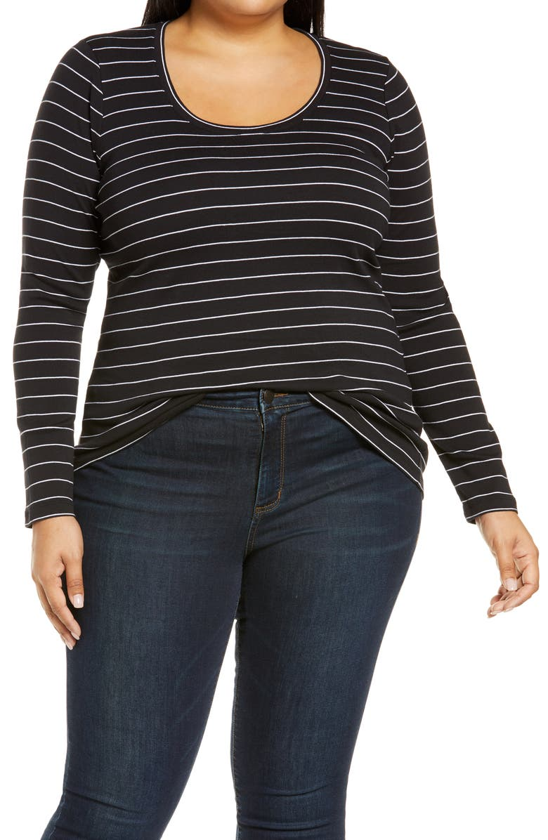 CASLON<SUP>®</SUP> Melody Long Sleeve Scoop Neck Tee, Main, color, BLACK- WHITE LAUREN STP