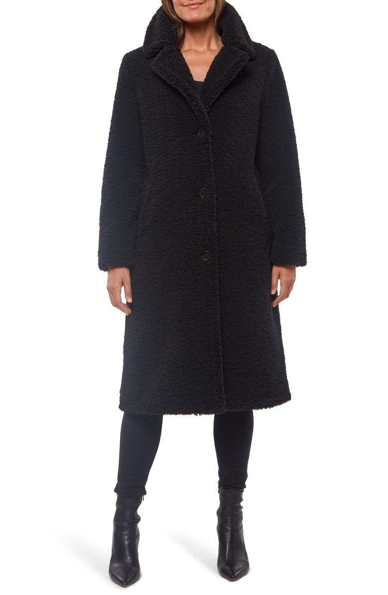 SANCTUARY Teddy Bear Faux Shearling Coat, Main, color, BLACK