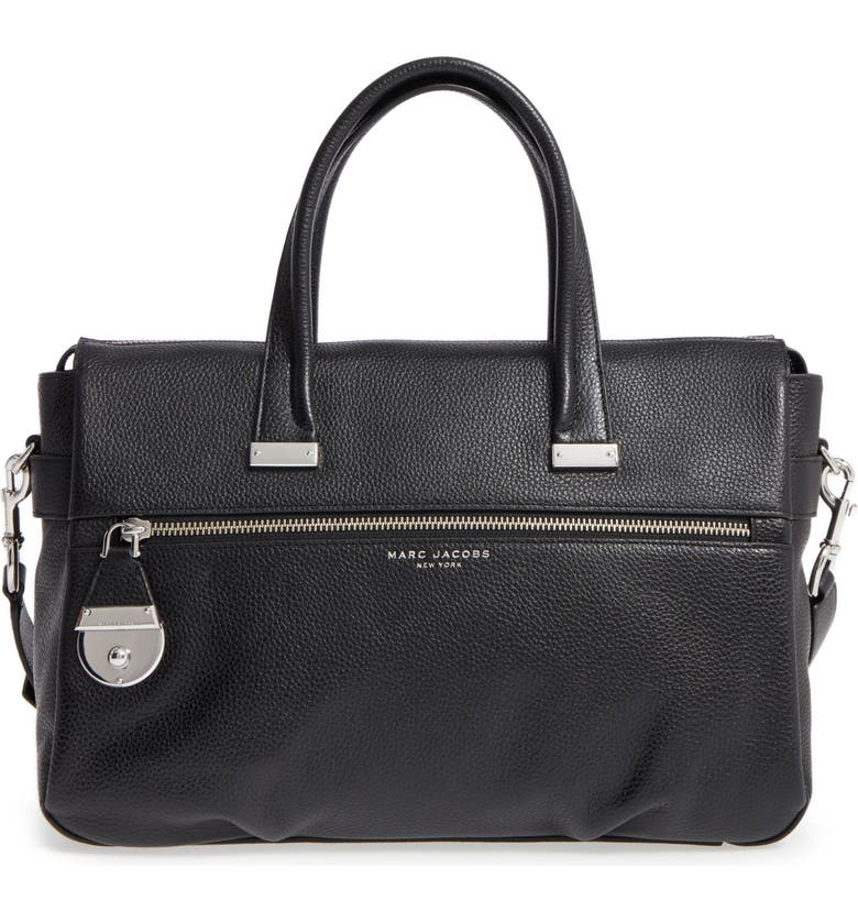 MARC JACOBS The Standard Medium East/West Leather Tote, Main, color, Black