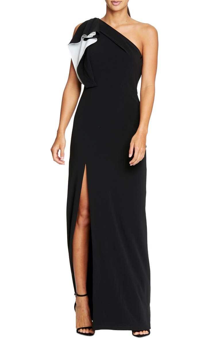 HALSTON HERITAGE Ruffle One-Shoulder Column Gown, Main, color, 175
