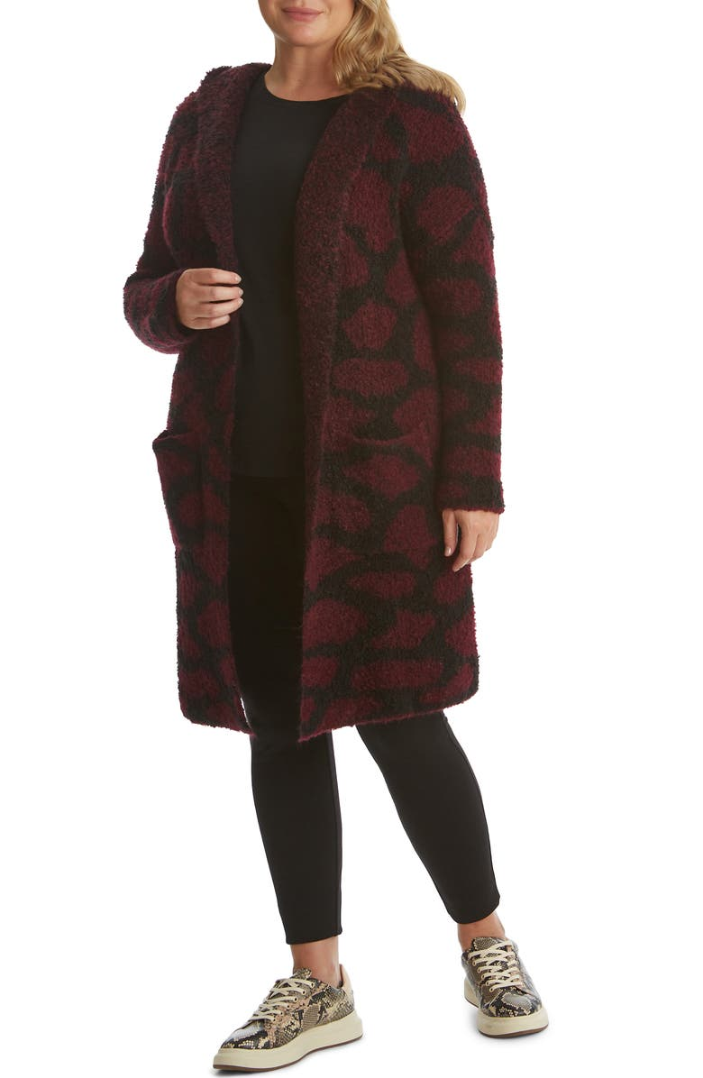ADYSON PARKER Animal Hooded Open Cardigan, Main, color, DEEP WINE COMBO