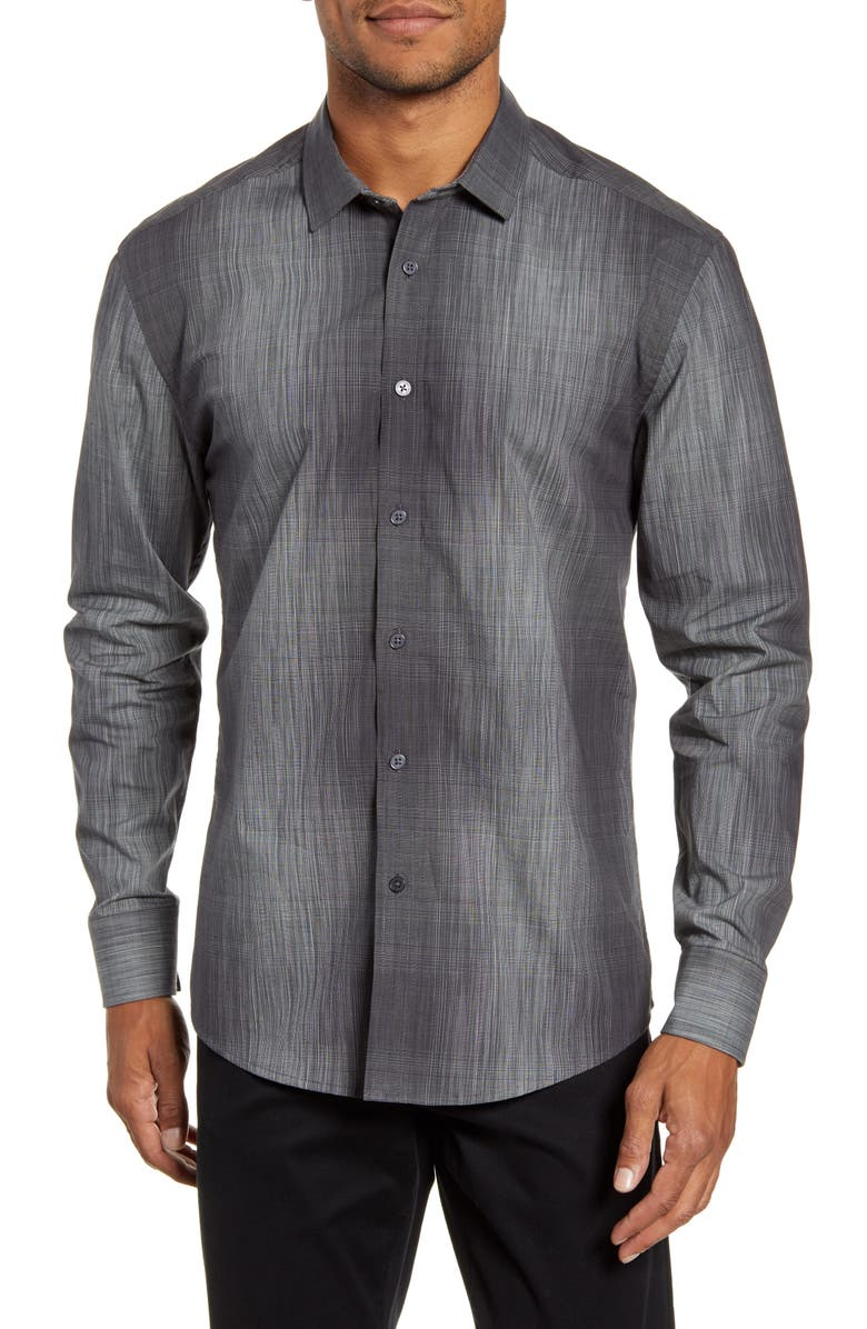 VINCE CAMUTO Slim Fit Abstract Check Button-Up Shirt, Main, color, 013