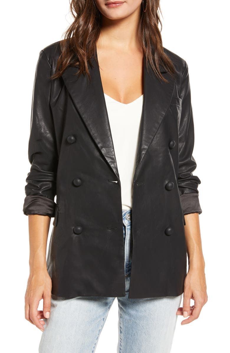 BLANKNYC Faux Leather Blazer, Main, color, CARBON