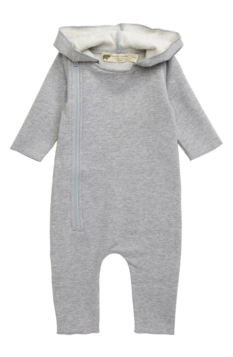 MONICA + ANDY Hooded Stretch Organic Cotton Romper, Main, color, 020