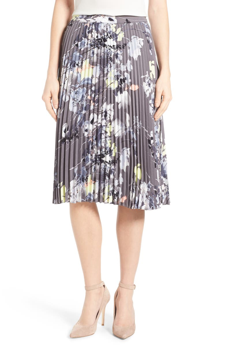 EMERSON ROSE Floral Print Pleat Skirt, Main, color, 030