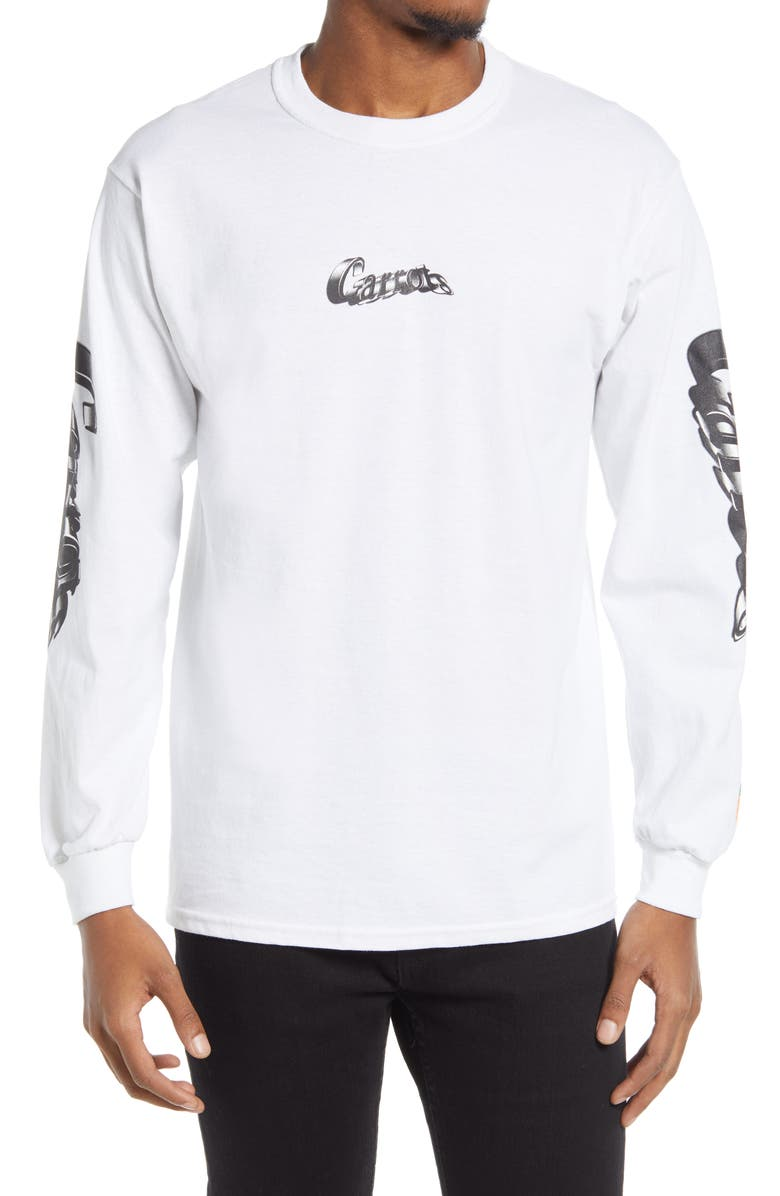 CARROTS BY ANWAR CARROTS Warped Long Sleeve Men's Graphic Tee, Main, color, WHITE