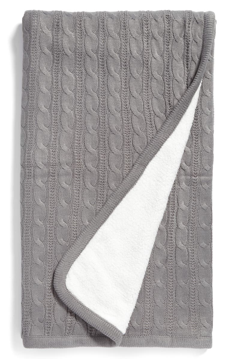 LEVTEX Cable Knit Throw Blanket, Main, color, Grey