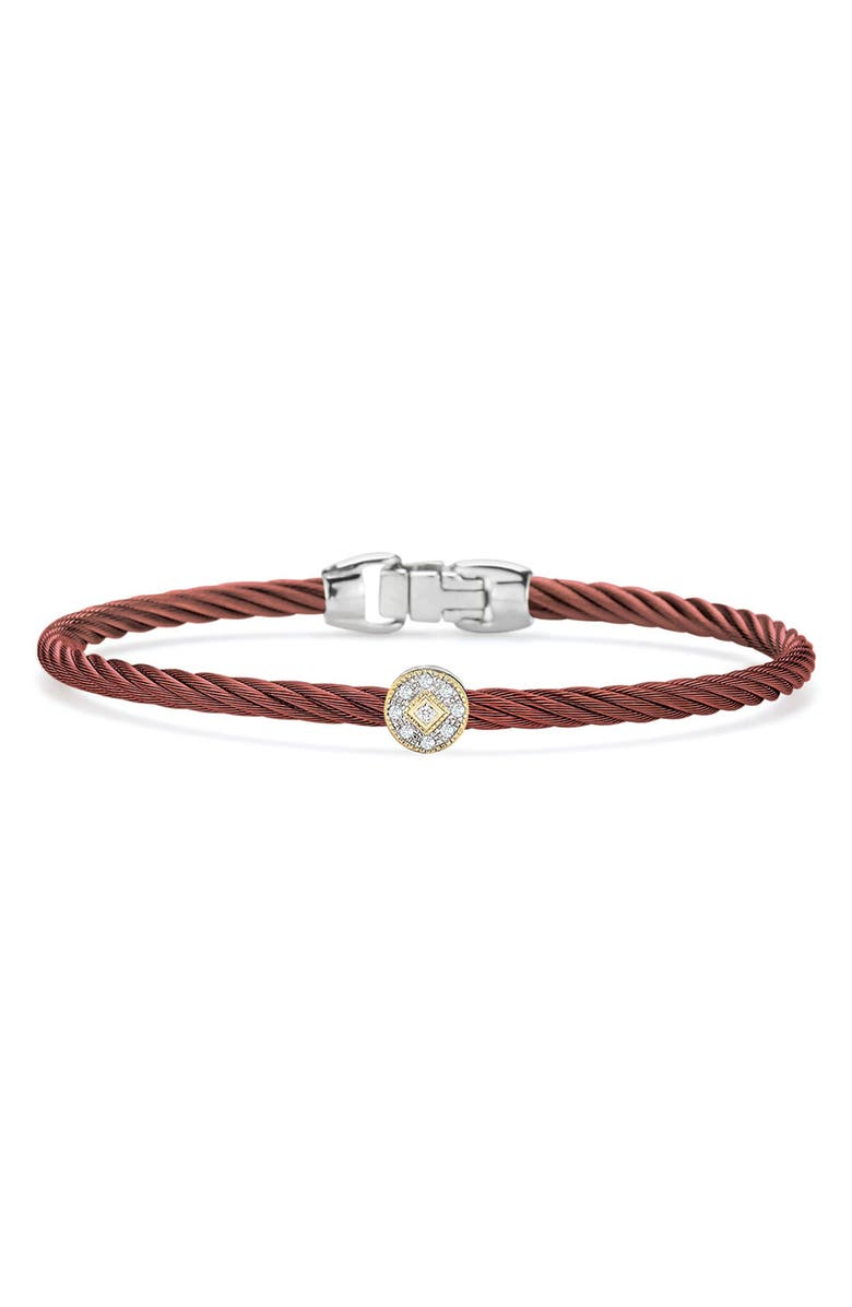 ALOR Stainless Steel 3mm Burgundy Cable & 18K Yellow Gold Pave Diamond Charm Bracelet - 0.05 ctw, Main, color, WHITE YELLOW COMBO