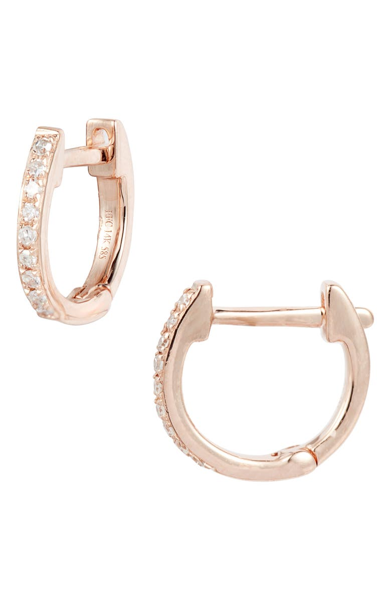 EF COLLECTION Mini Diamond Hoop Earrings, Main, color, ROSE GOLD