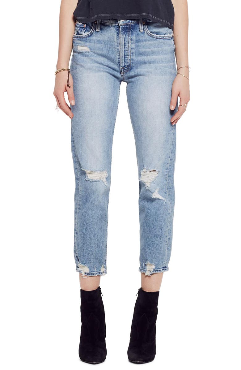 MOTHER The Tomcat Ripped Crop Straight Leg Jeans, Main, color, THE CONFESSION