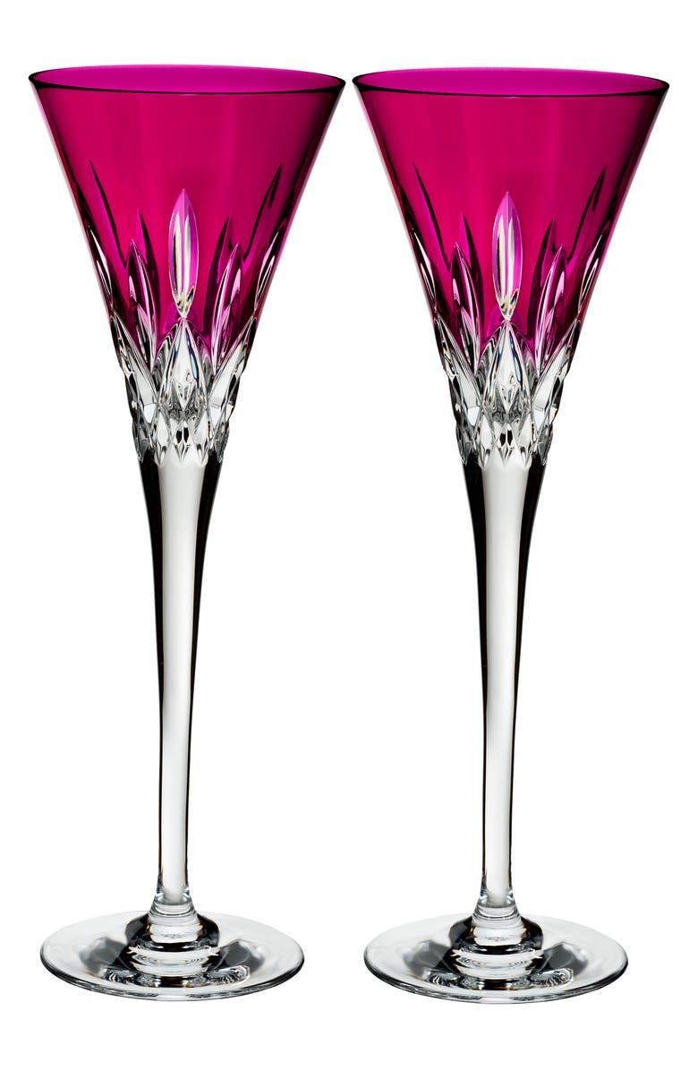 WATERFORD Lismore Pops Set of 2 Hot Pink Lead Crystal Champagne Flutes, Main, color, 100