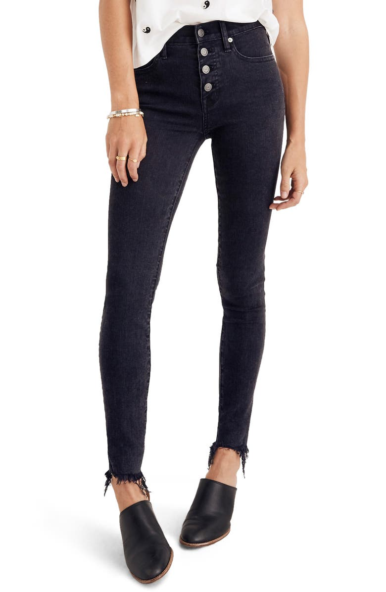 MADEWELL 9-Inch Button Ankle Skinny Jeans, Main, color, 001