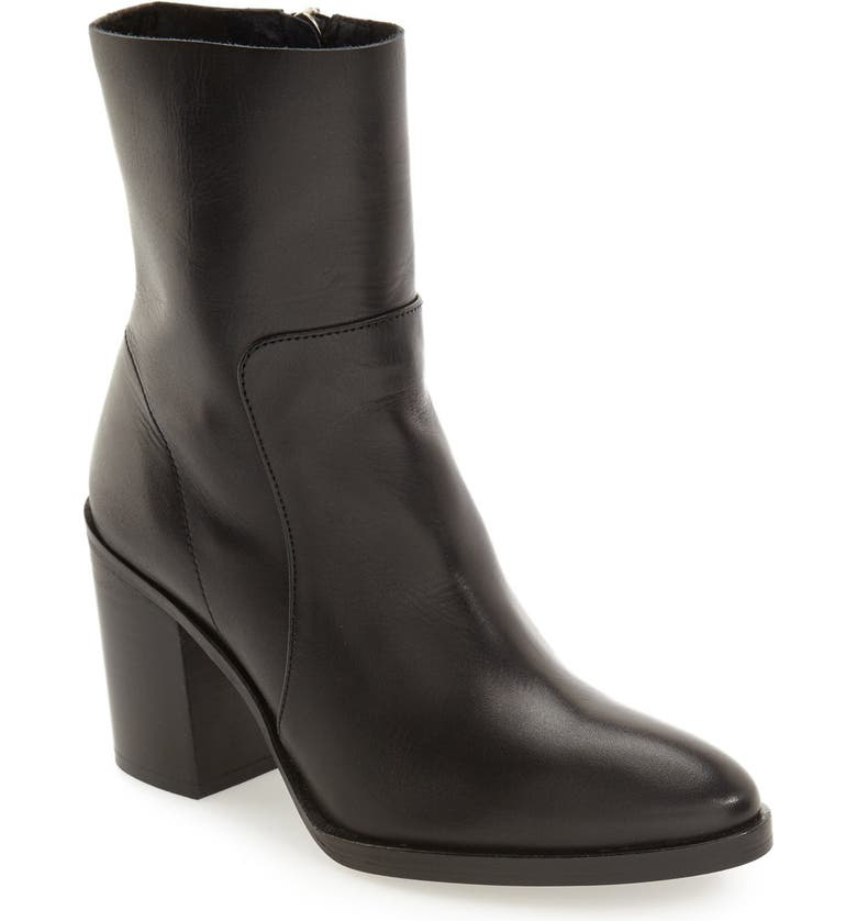 TOPSHOP 'Million' Pointy Toe Zip Boot, Main, color, Black