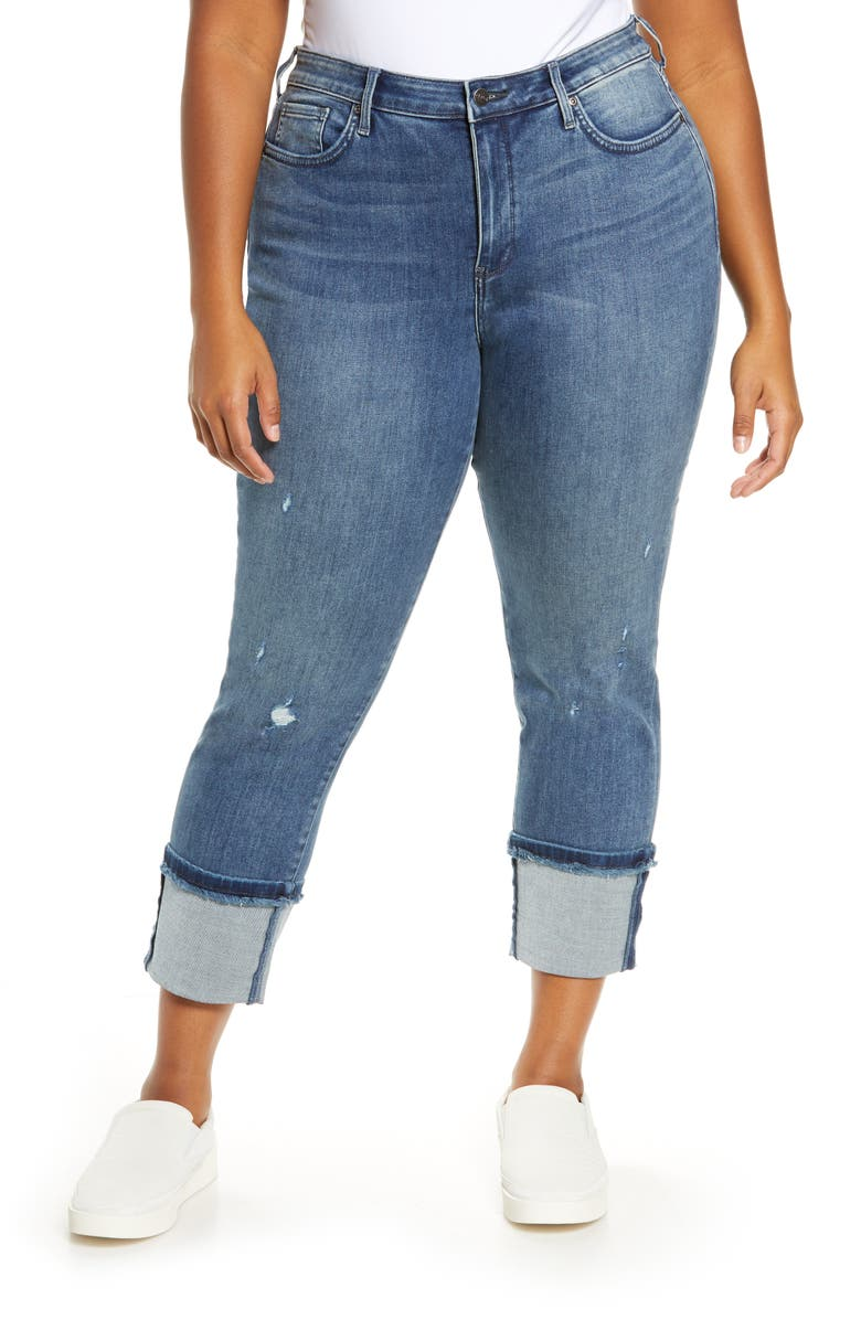 NYDJ Sheri Distressed Tall Cuff Ankle Jeans, Main, color, 401
