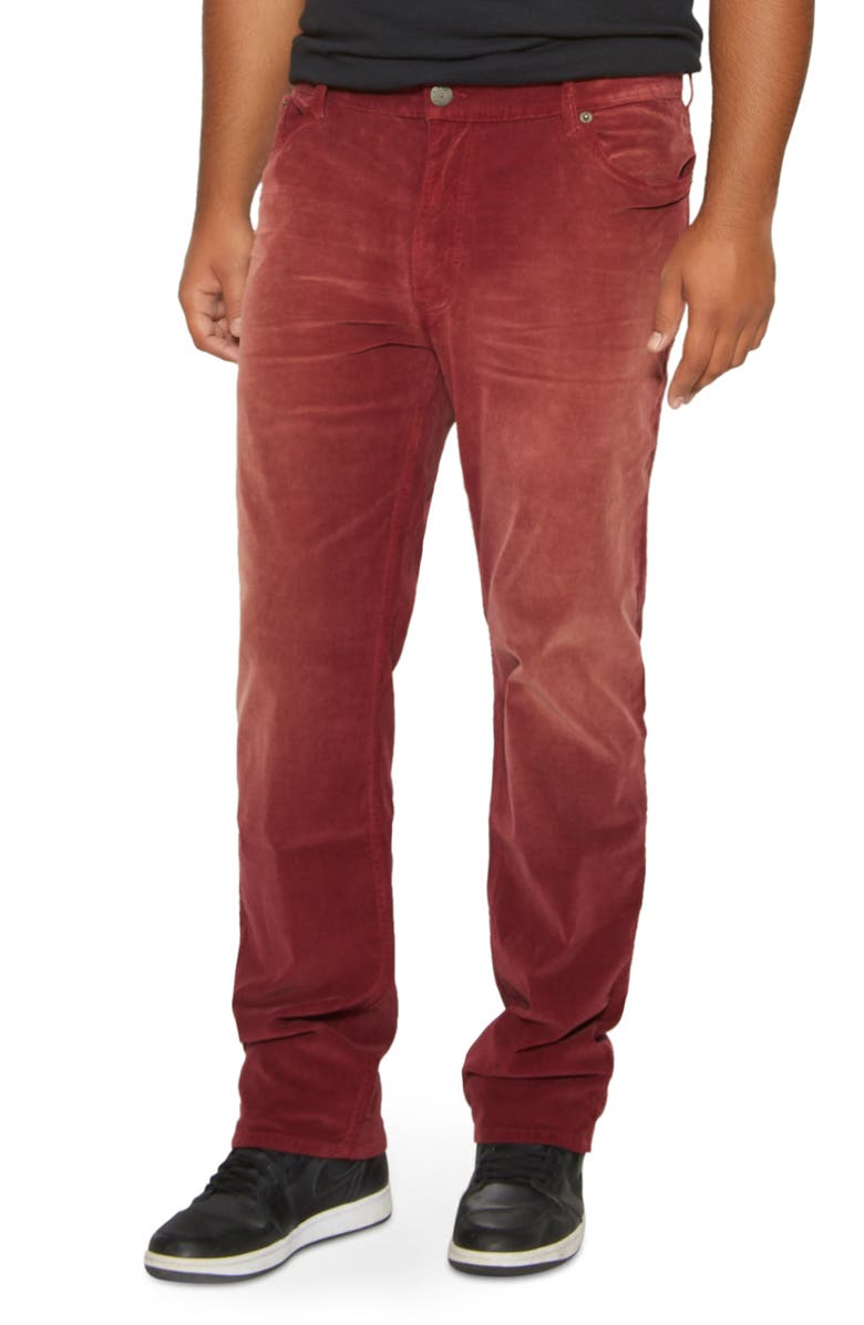 MVP COLLECTIONS Straight Leg Corduroy Jeans, Main, color, MERLOT VINTAGE WASH