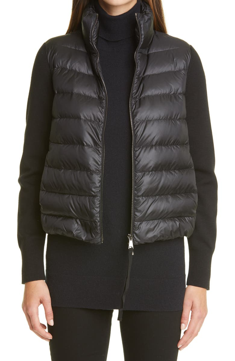 MONCLER Quilted Down & Wool Short Cardigan, Main, color, Black