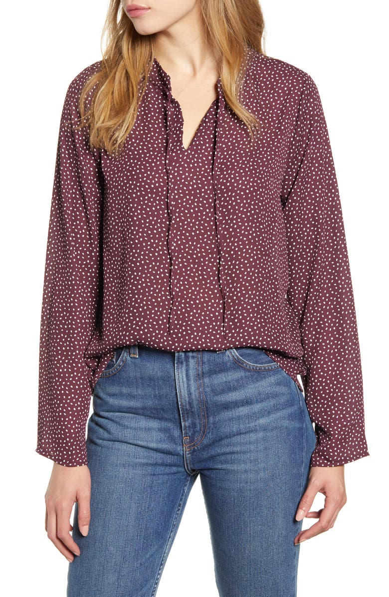 BOBEAU Samara Tie Neck Long Sleeve Blouse, Main, color, 501