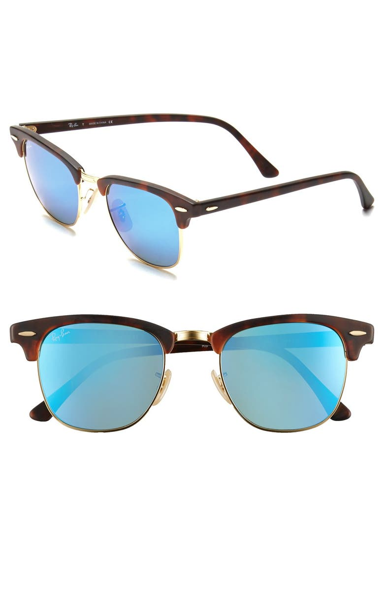 RAY-BAN Flash Clubmaster 51mm Sunglasses, Main, color, 200