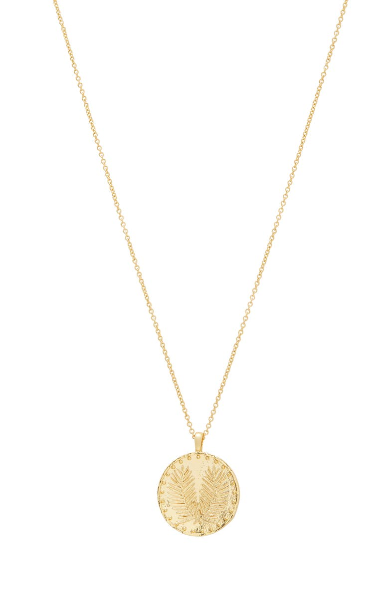 GORJANA Palm Coin Pendant Necklace, Main, color, GOLD