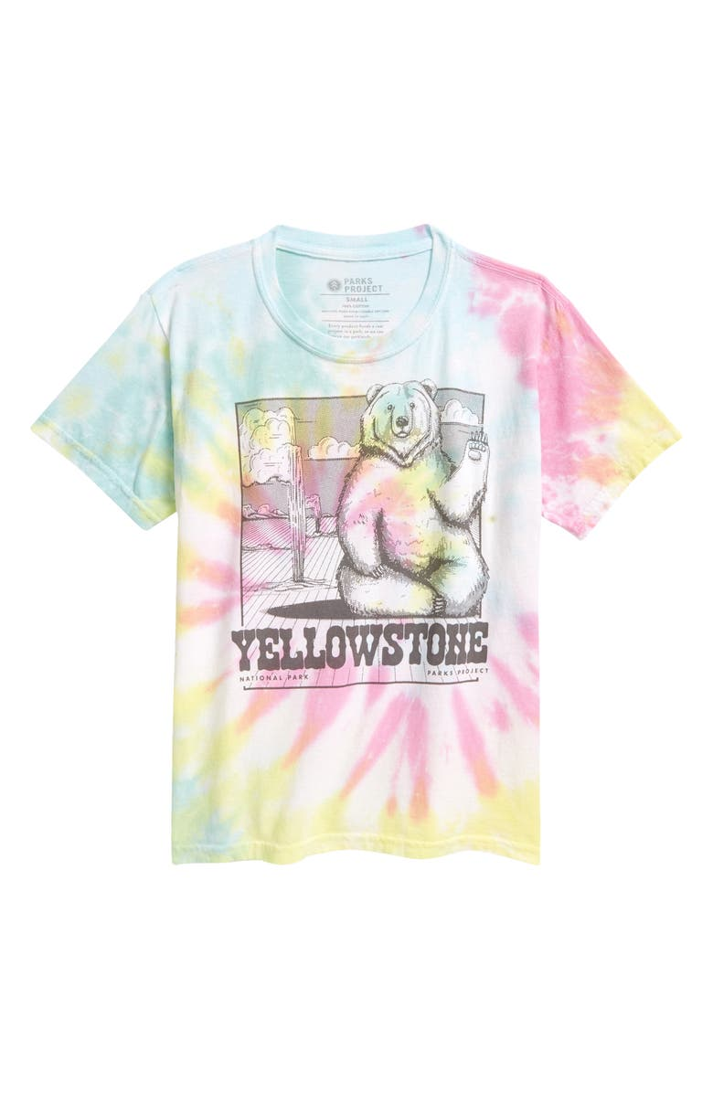PARKS PROJECT Kids' Yellowstone Waving Bear Graphic Tee, Main, color, TIE