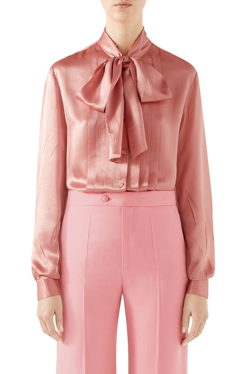 GUCCI Silk Satin Bow Blouse, Main, color, 656
