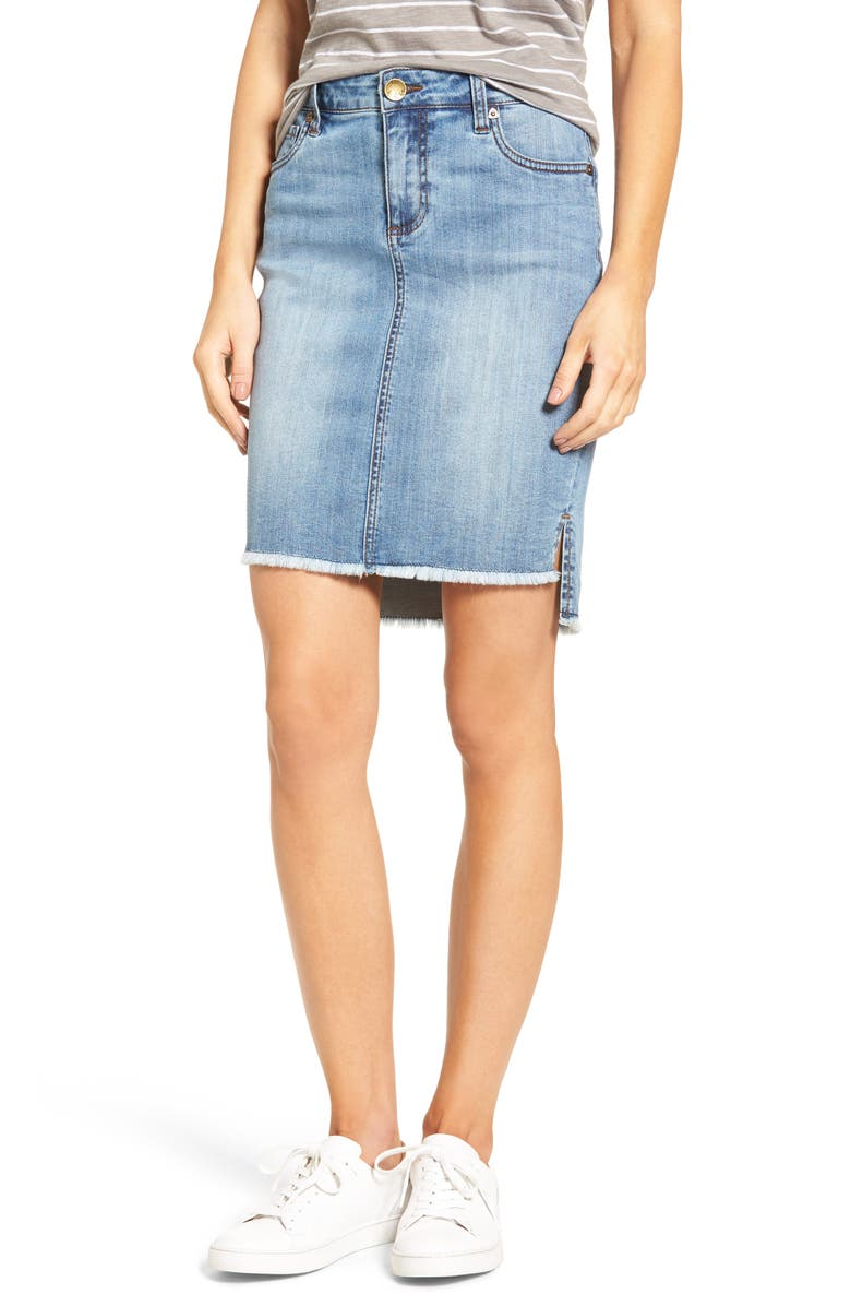 KUT FROM THE KLOTH Connie High/Low Denim Skirt, Main, color, 478