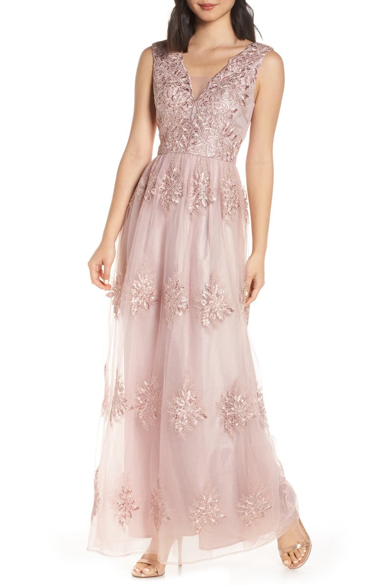 CHI CHI LONDON Aubree Embroidered Evening Dress, Main, color, 660