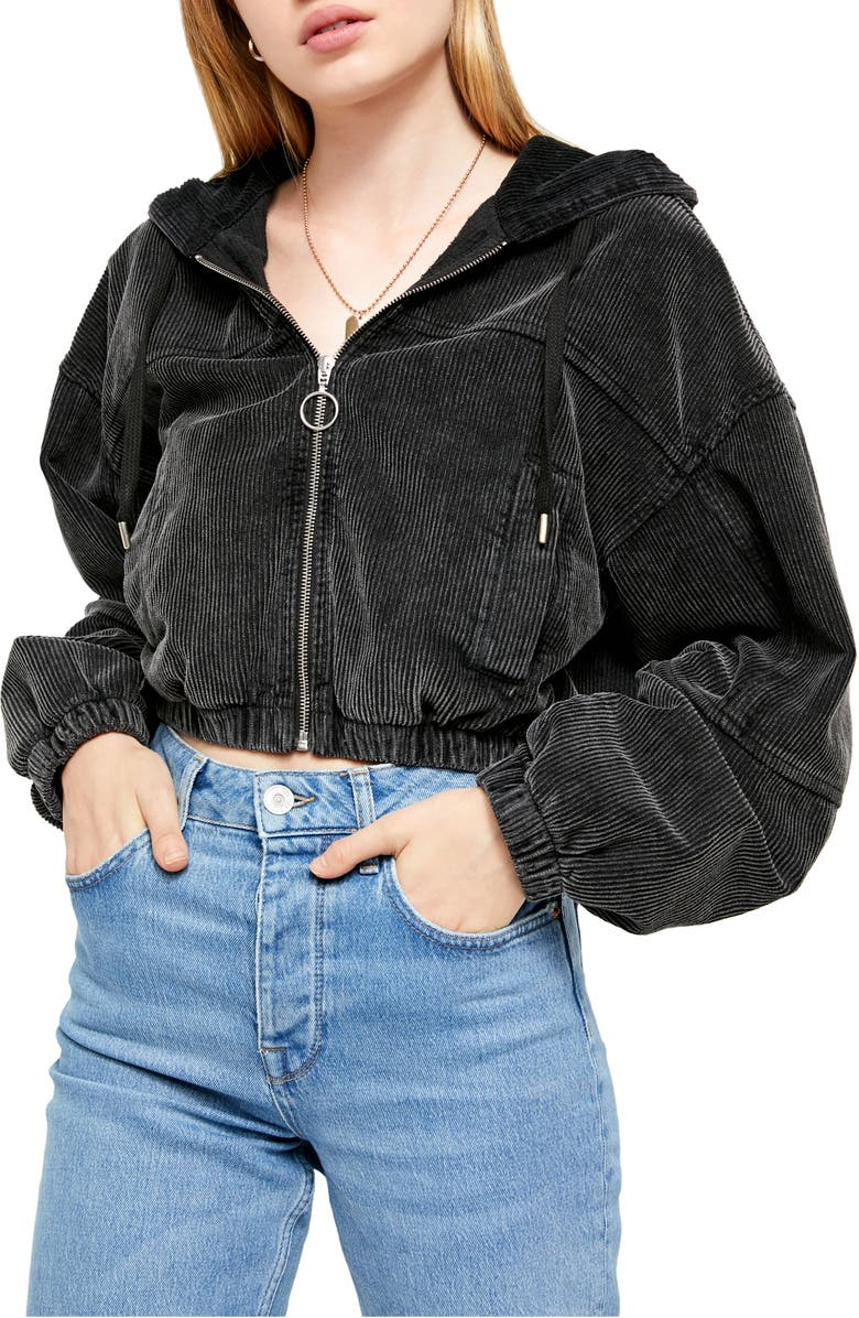 BDG URBAN OUTFITTERS Corduroy Crop Hooded Jacket, Main, color, 006