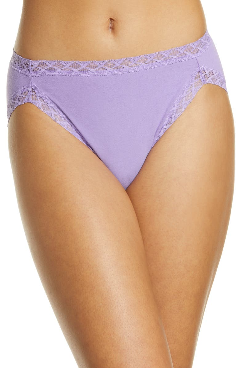 NATORI Bliss Cotton French Cut Briefs, Main, color, FRENCH LILAC