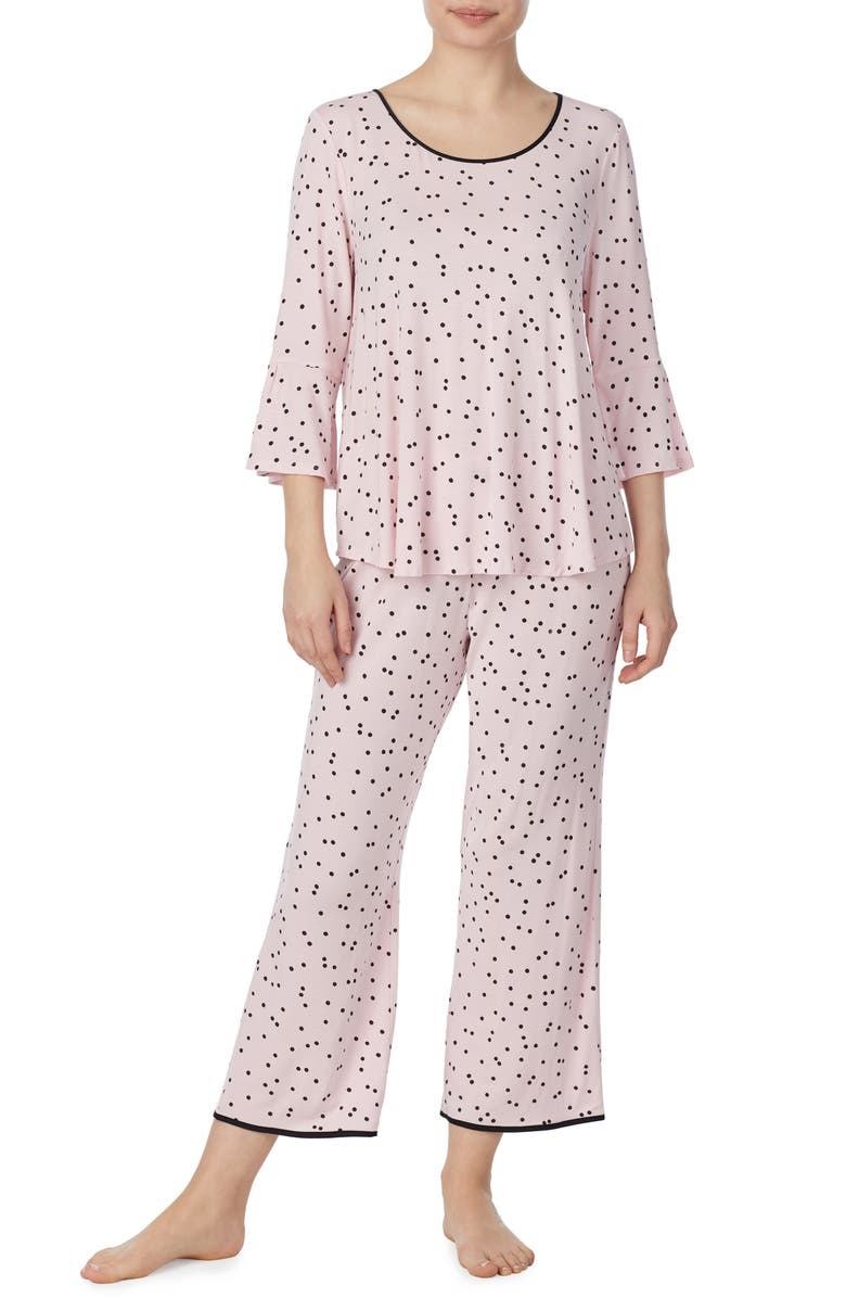KATE SPADE NEW YORK bell cuff pajamas, Main, color, SCATTERED DOT PINK