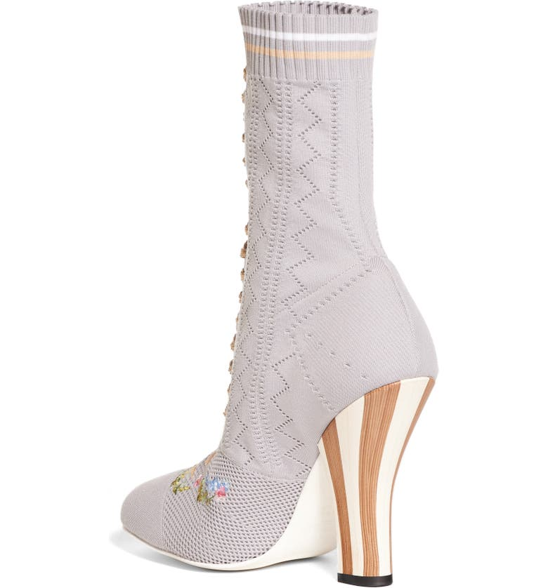 FENDI Floral Sock Bootie, Main, color, 020
