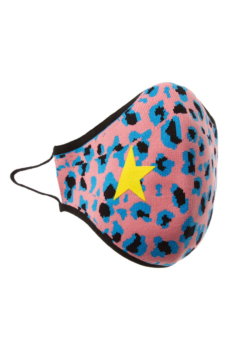 GOLDEN GOOSE Leopard Seamless Adult Face Mask, Main, color, PINK/ BLUE/ BLACK/ YELLOW