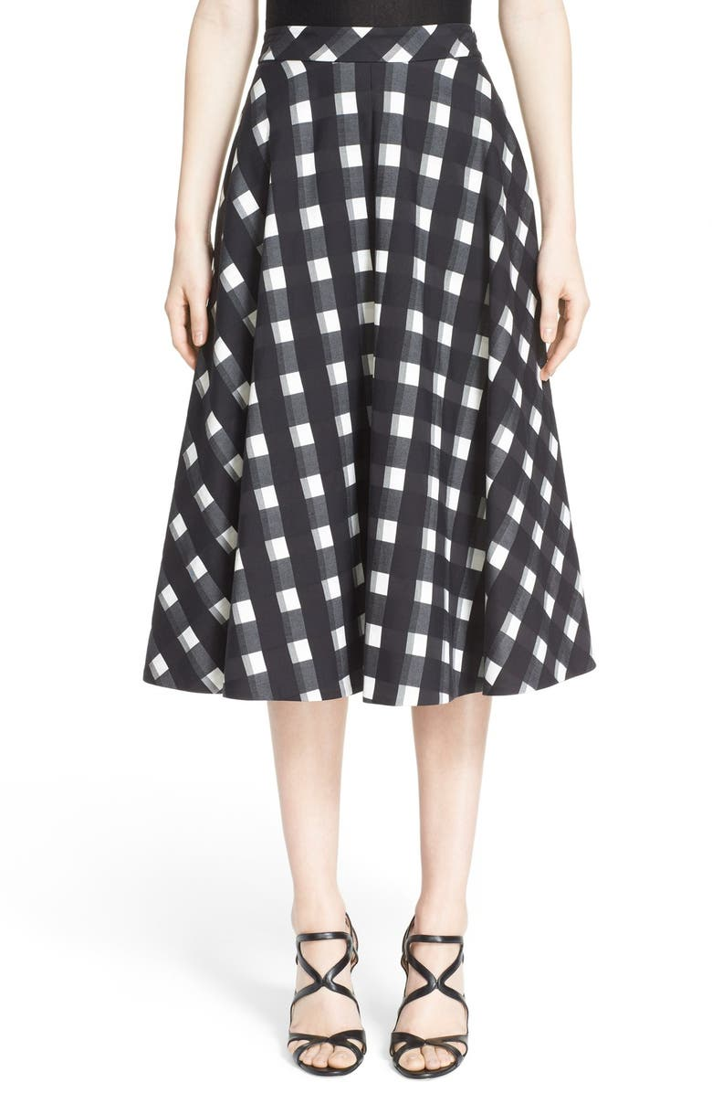 NORDSTROM SIGNATURE AND CAROLINE ISSA 'Kate' Full Check Cotton Skirt, Main, color, 001