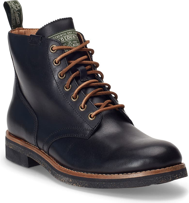 POLO RALPH LAUREN RL Army Boot, Main, color, BLACK LEATHER