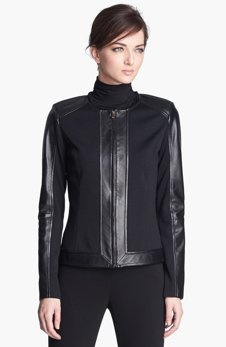 ST. JOHN COLLECTION Leather Detail Milano Knit Jacket, Main, color, CAVIAR