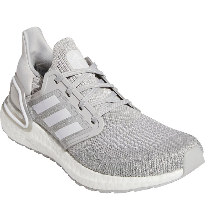 ADIDAS UltraBoost 20 Running Shoe, Main, color, GREY/ WHITE/ WHITE