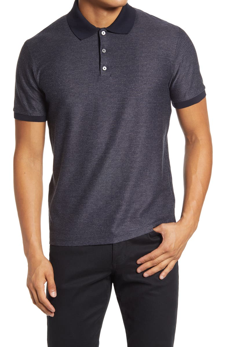 THEORY Micro Grid Short Sleeve Polo, Main, color, ECLIPSE/ WHITE GREY