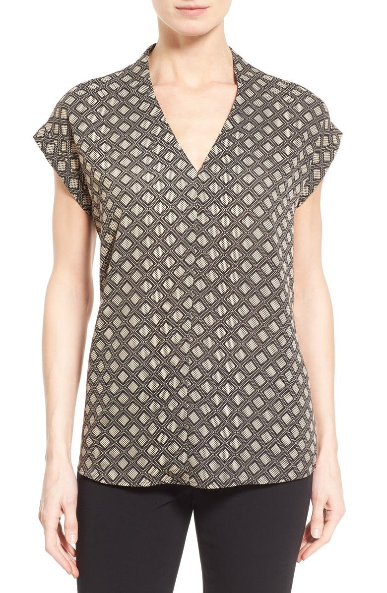 PLEIONE Cuffed Sleeve V-Neck Top, Main, color, 008
