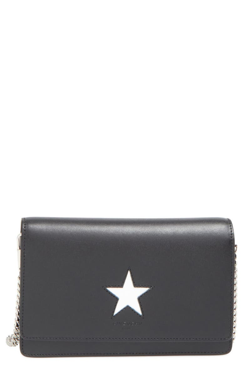GIVENCHY 'Pandora' Star Wallet on a Chain, Main, color, BLACK/ WHITE