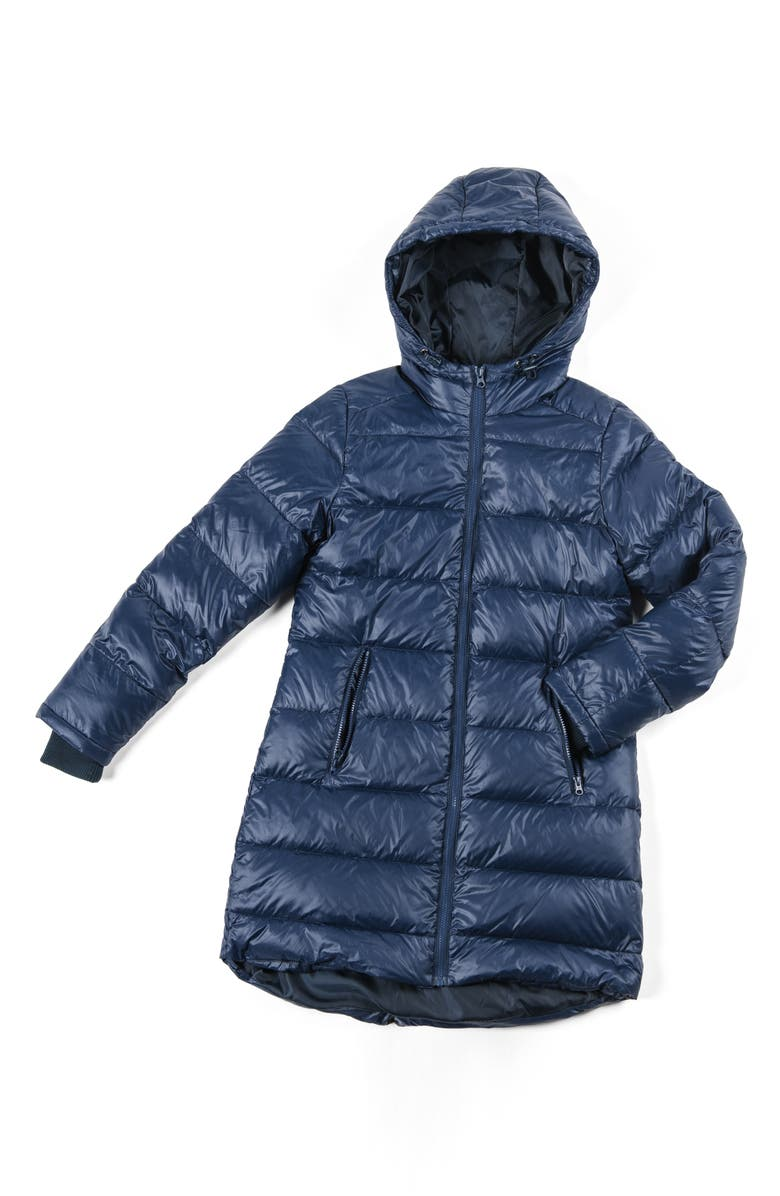 MODERN ETERNITY 3-in-1 Waterproof Quilted Down & Feather Fill Maternity Puffer Coat, Main, color, NAVY